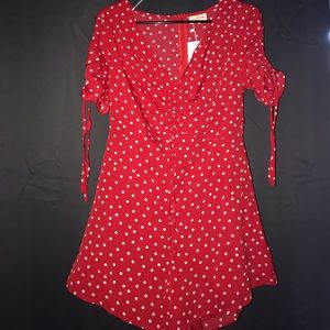 Red and white poka -Dot Romper